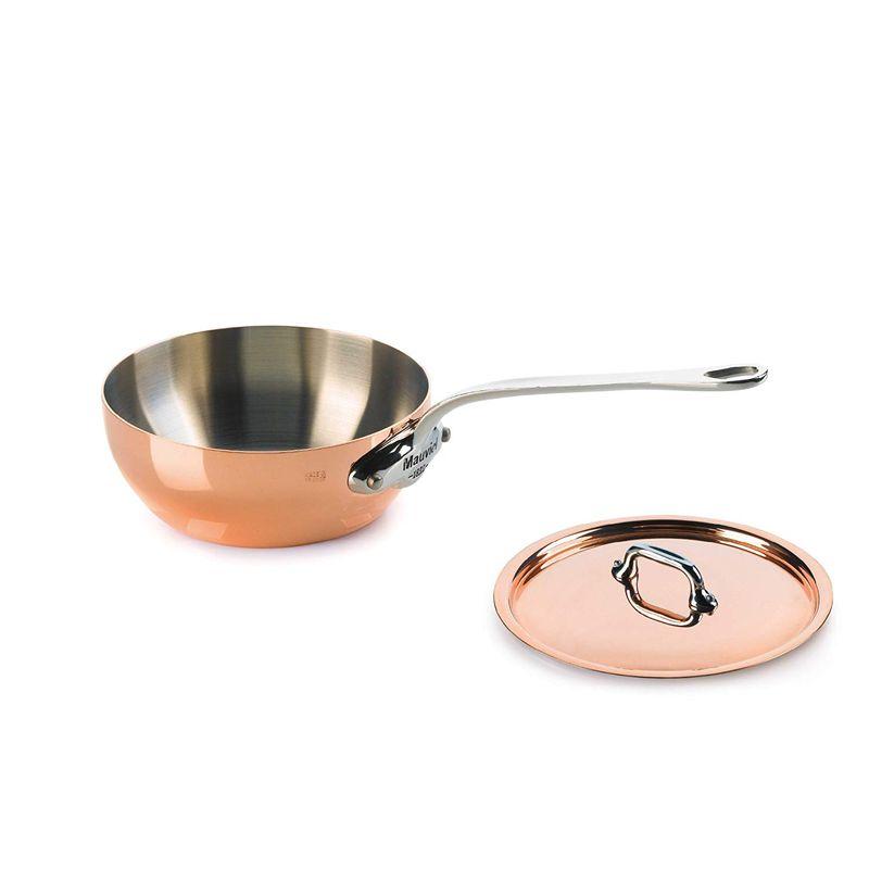モヴィエル モービル モビエル 銅 カーブドソテーパン 直径16cm ステンレス持ち手 蓋つきMauviel M'heritage 150s 6112.17 .09-Quart Splayed Saute Pan with Lid and Cast Stainless Steel Handle
