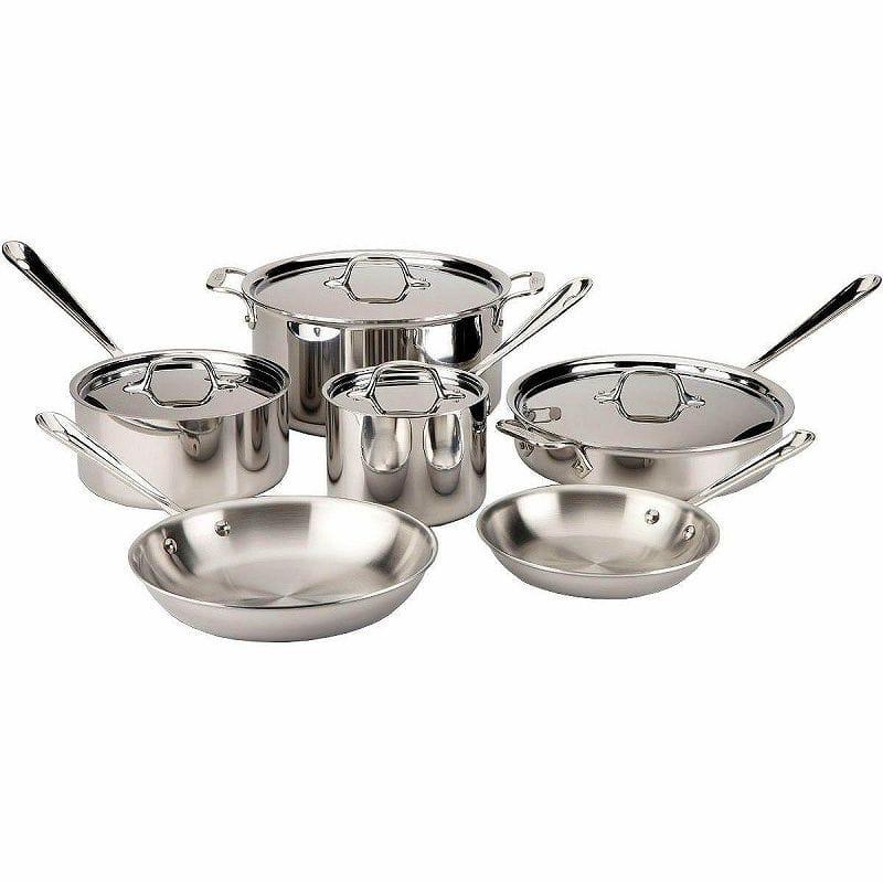オールクラッド ステンレス鍋10点セットAll-Clad 501853 Stainless Steel 10-Piece Cookware Set