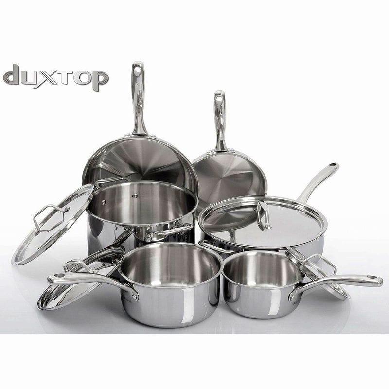 デュックストップ ステンレス鍋10点セット IH可Duxtop Whole-Clad Tri-Ply Stainless Steel Induction Ready Premium Cookware 10-Pc Set