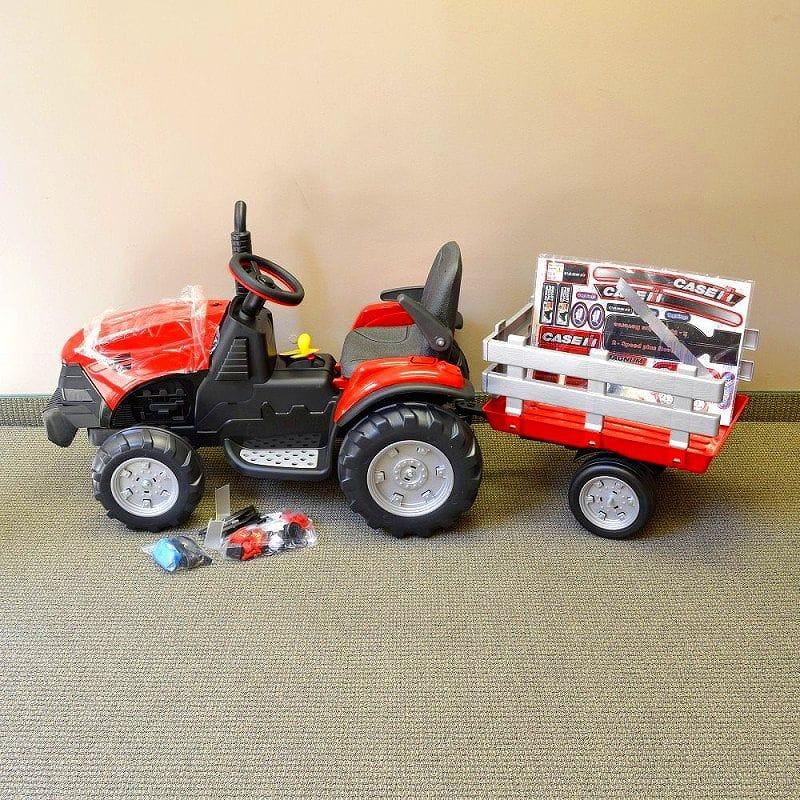 【組立要】ペグペレゴ マグナムトラクター&トレーラー 12Vバッテリー付子供用電動自動車 3~7才用 電動カー Peg Perego Case IH Magnum Tractor and Trailer 12-Volt Battery-Powe赤 Ride-On