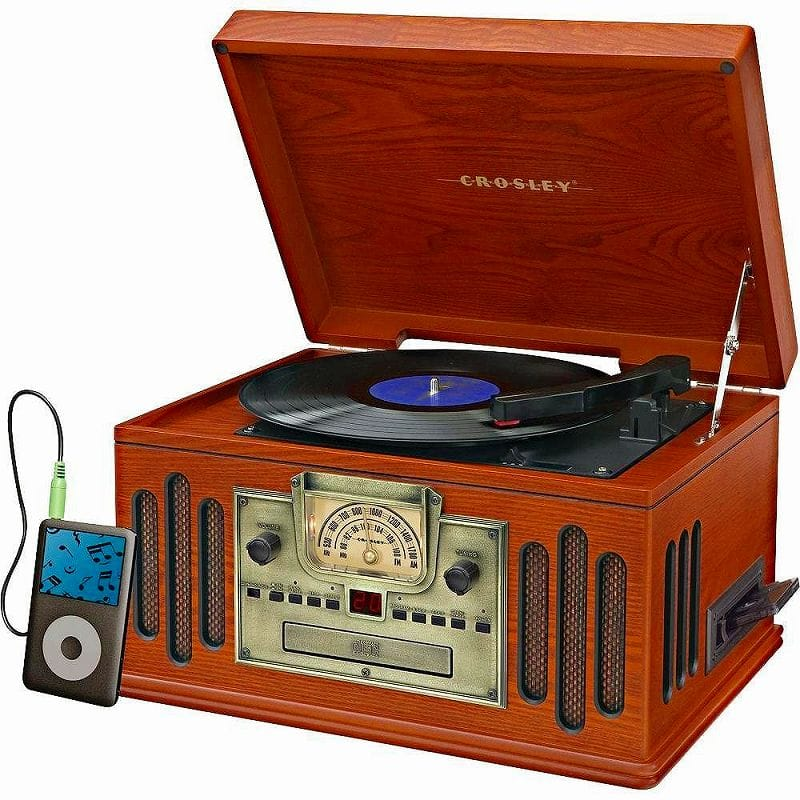 クロスリー ラジオ レコードプレーヤー CDプレーヤー カセットデッキ Aux Bluetooth Crosley CR704D-PA Musician 3-Speed Turntable with Radio, CD/Cassette Player, Aux-In and Bluetooth