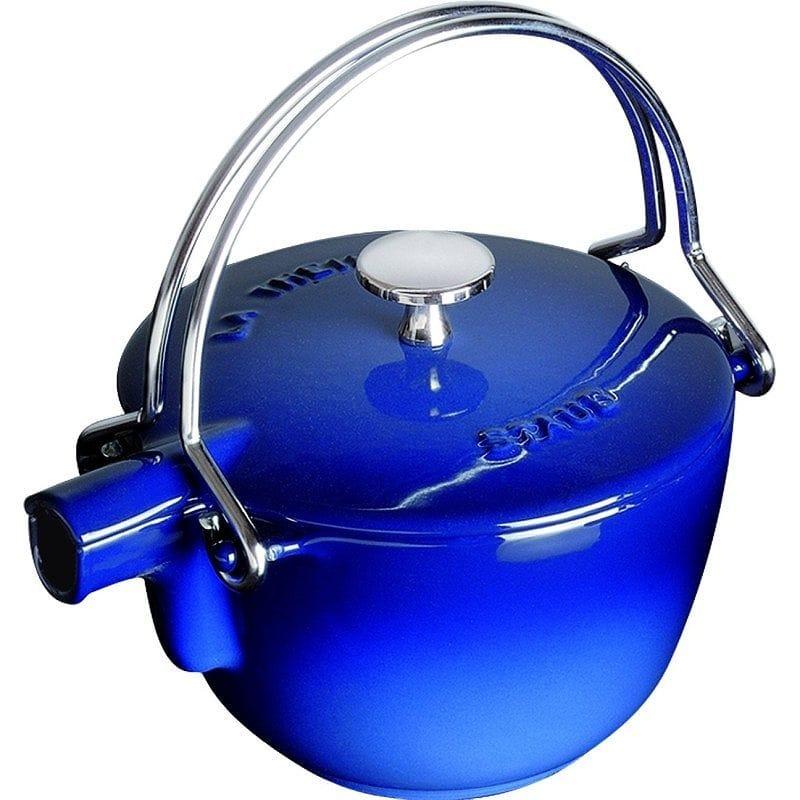 フランス ストウブ ヤカン(ケトル) 0.95L ダークブルー IH対応 Staub Dark Blue Enamel Cast Iron Teapot Kettle, 1 Quart
