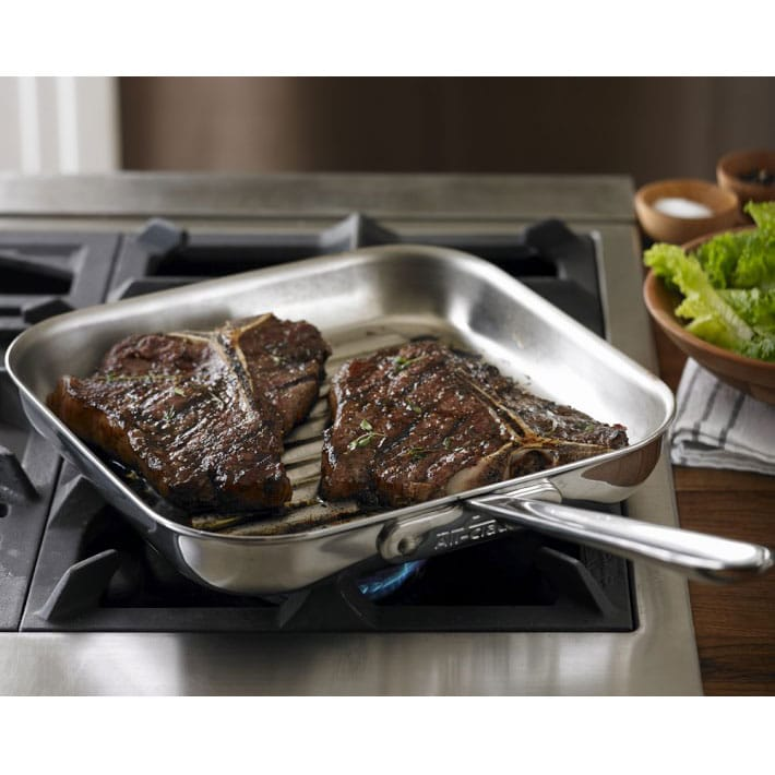 Williams Sonoma All Clad Stainless Steel Skeagrillpan D5 Square Grill Pan