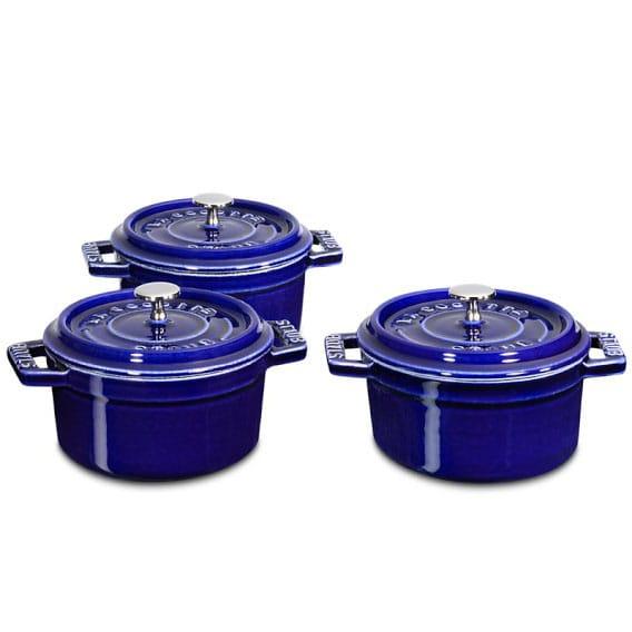 ストウブ キャストアイアン ミニラウンドココット3点セット Staub Cast-Iron Mini Round Cocotte Set, 1/4-Qt.