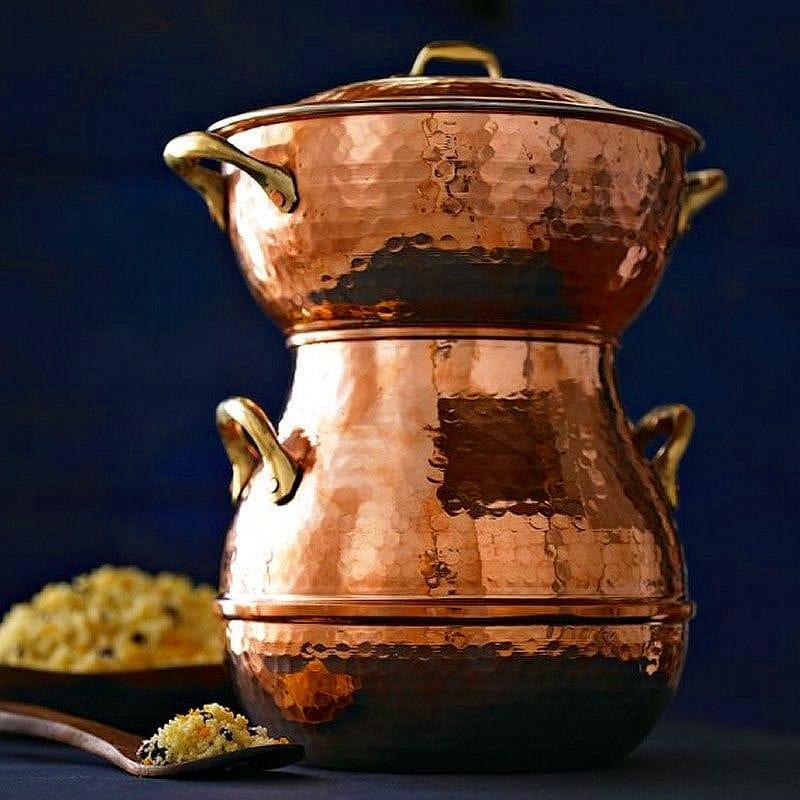 ハンドハンマー 銅鍋 蒸し器 クスクスメーカー 小龍包 Hand-Hammered Copper Couscoussier