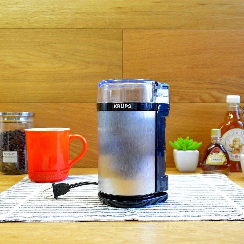 クラップス 電子スパイスハーブ&コーヒーグラインダー 豆挽きグレー KRUPS GX4100 Electric Spice Herbs and Coffee Grinder with Stainless Steel Blades and Housing, Grey
