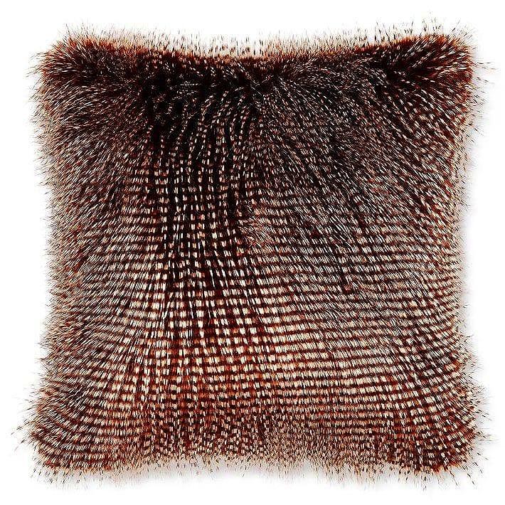 ウィリアムズソノマ フェイクファー枕カバー クッションカバー ブラウンアウルフェザー Williams-Sonoma Faux Fur Pillow Cover, Brown Owl Feather