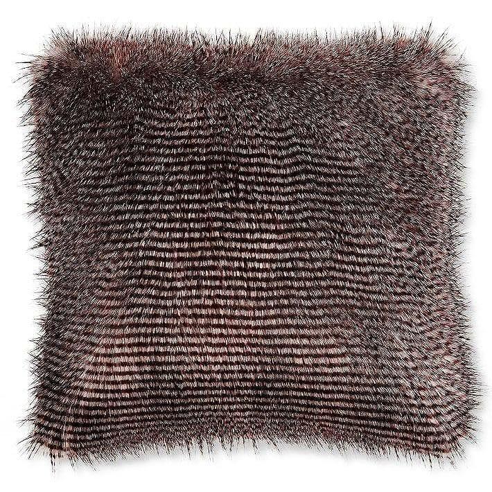 ウィリアムズソノマ フェイクファー枕カバー クッションカバー グレーアウルフェザーWilliams-Sonoma Faux Fur Pillow Cover, Gray Owl Feather