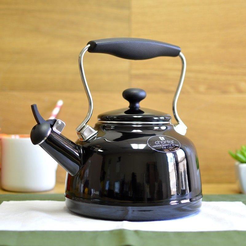 シャンタール IH対応 ビンテージケトル 黒 ブラック ホーローChantal Enamel-On-Steel Vintage Teakettle 37-VINT BK