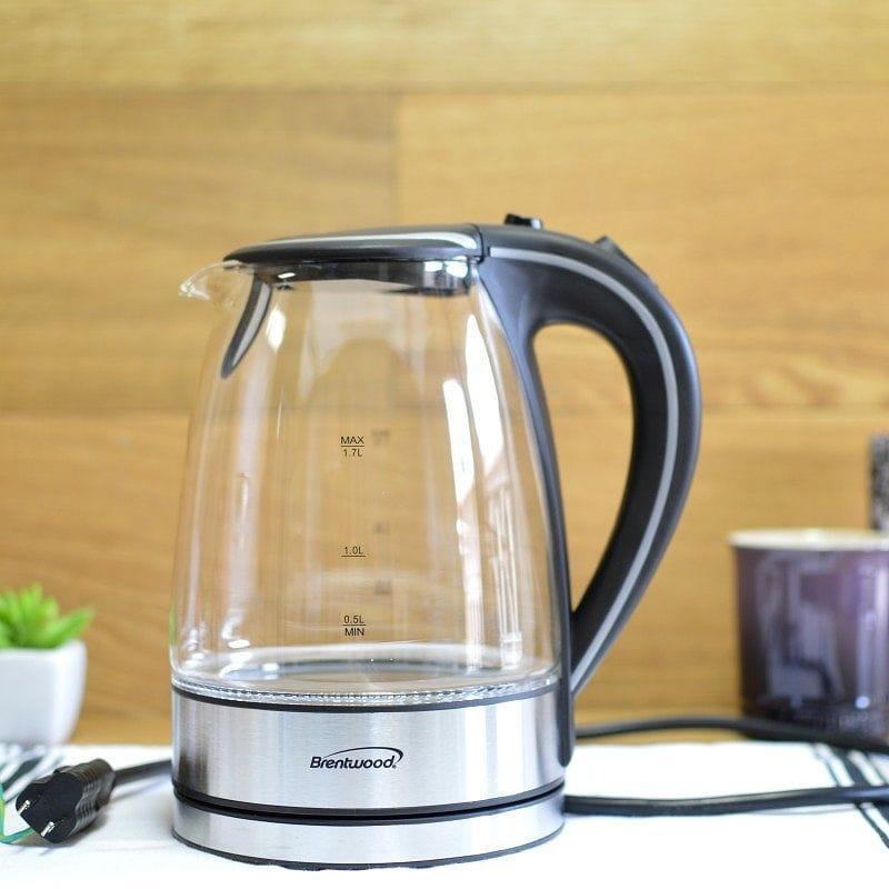 ブレントウッド ガラス電気ケトル ティーケトル 約1.7L LEDライト付  Brentwood Appliances KT-1900 Tempered Glass Tea Kettles 1.7-Liter 家電