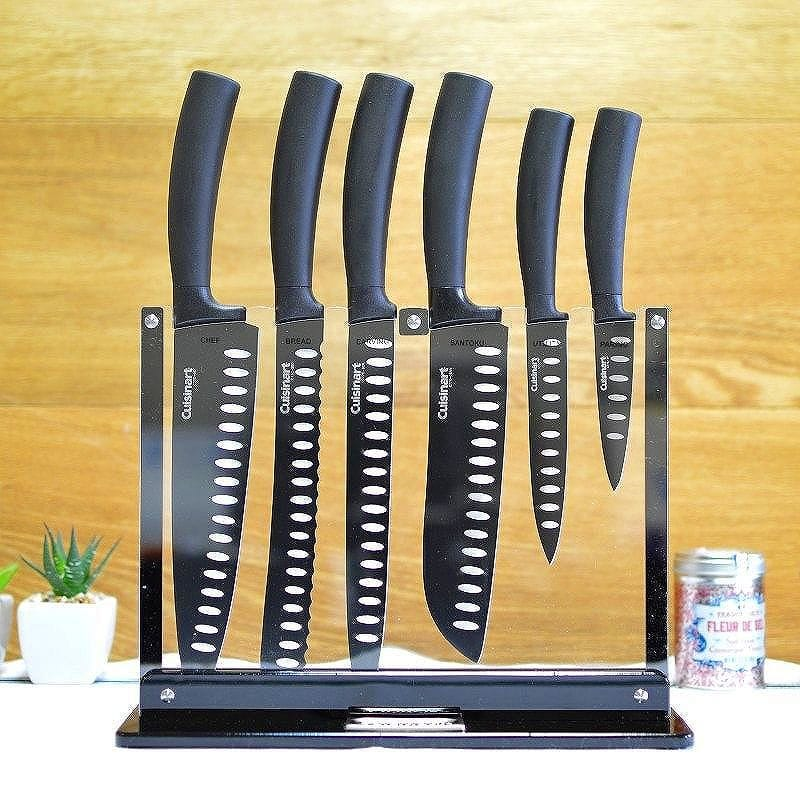 クイジナート ノンスティックカトラリーナイフ 7点セットCuisinart 7-Piece Nonstick Cutlery Knife Set with Acrylic Stand, Black