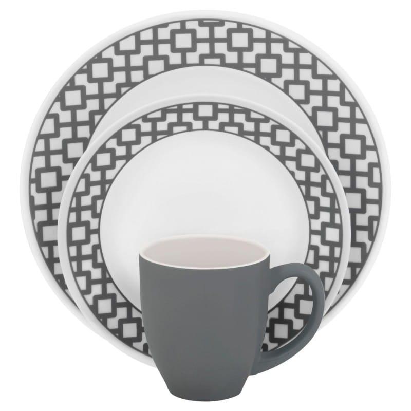 コレール インプレッション ディナーウェア アーバングリッド グレイ 4人用 16点セットCorelle Impressions 16-Piece Service for 4-Dinnerware Set, Urban Grid, Gray