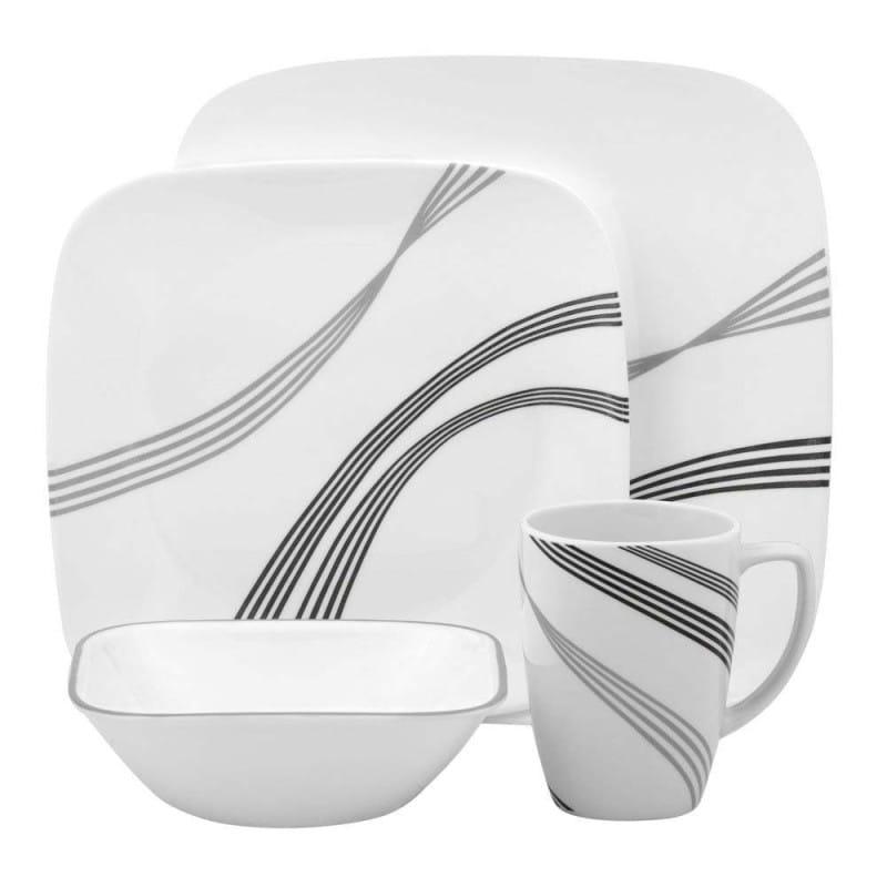 コレール リビングウェアー ディナーウェアー 食器16点セットトワイライトグローブ Corelle Square 16-Piece Dinnerware Set, Twilight Grove, Service for 4