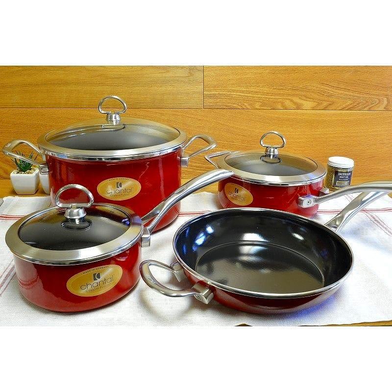 シャンタール フュージョン 7点セット チリレッド Chantal Copper Fusion Cookware Set Chili Red (7pc)