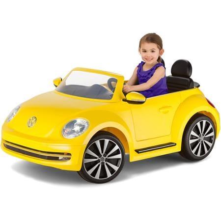 【代引不可】【組立要】キッドトラックス フォルクスワーゲン ビートル コンバーチブルカー 電動自動車 12Vバッテリー付 イエロー 対象年齢3才~Kid Trax VW Beetle Convertible 12-Volt Battery-Powered Ride-On