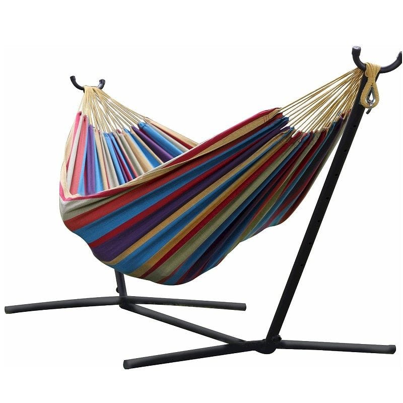 ヴィーヴェレ ダブルハンモック トロピカルVivere Double Hammock with Space-Saving Steel Stand, Tropical