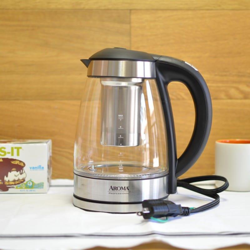 アロマ ガラス電気ケトル ティーインフューザー Aroma AWK-165DI 7 Cup Glass and Stainless Digital Kettle 家電