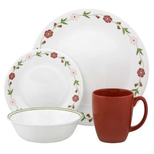 コレール リビングウェアー ディナーウェアー 食器16点セット スプリングピンクCorelle Contours 16-Piece Dinnerware Set, Spring Pink, Service for 4