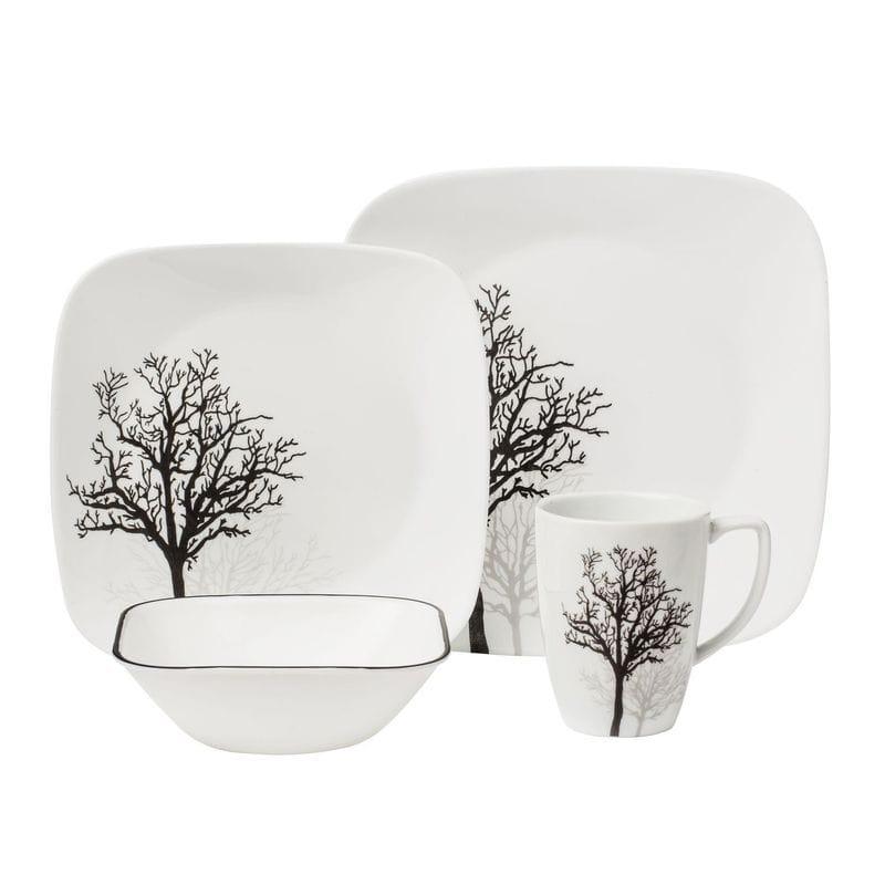 コレール スクエア ディナーウェア 4人用 16点セット Corelle Square 16-Piece Dinnerware Set, Timber Shadows, Service for 4