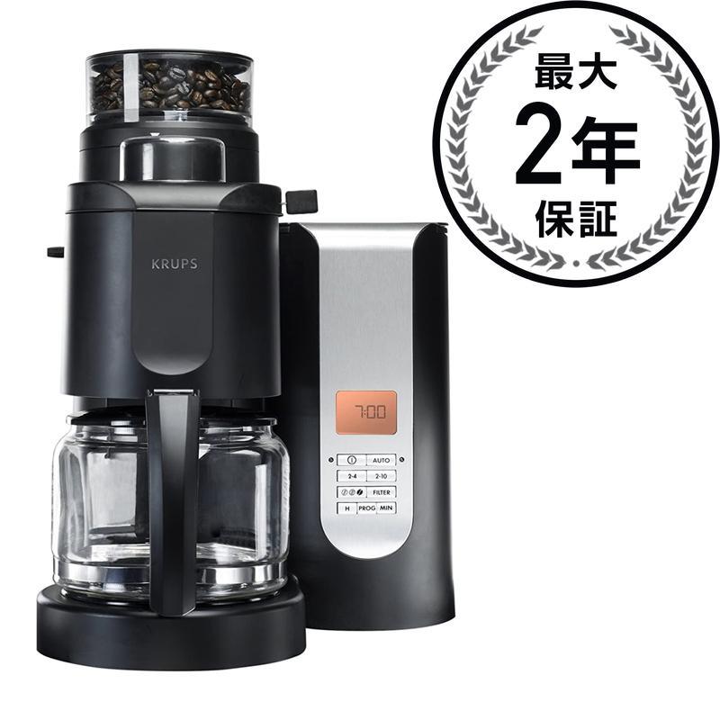 クラップス 自動豆挽き付 コーヒーメーカー グラインダー(ミル)10カップ Krups KM7000 Grind-and-Brew 10-Cup Coffeemaker, Black 家電