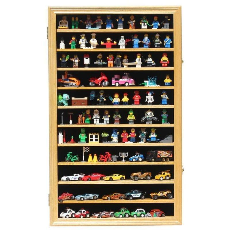 おもちゃの整理棚 Hot Wheels Matchbox 1/64 scale Diecast Display Case Cabinet Wall Rack w/UV Protection (HW11-OAK)