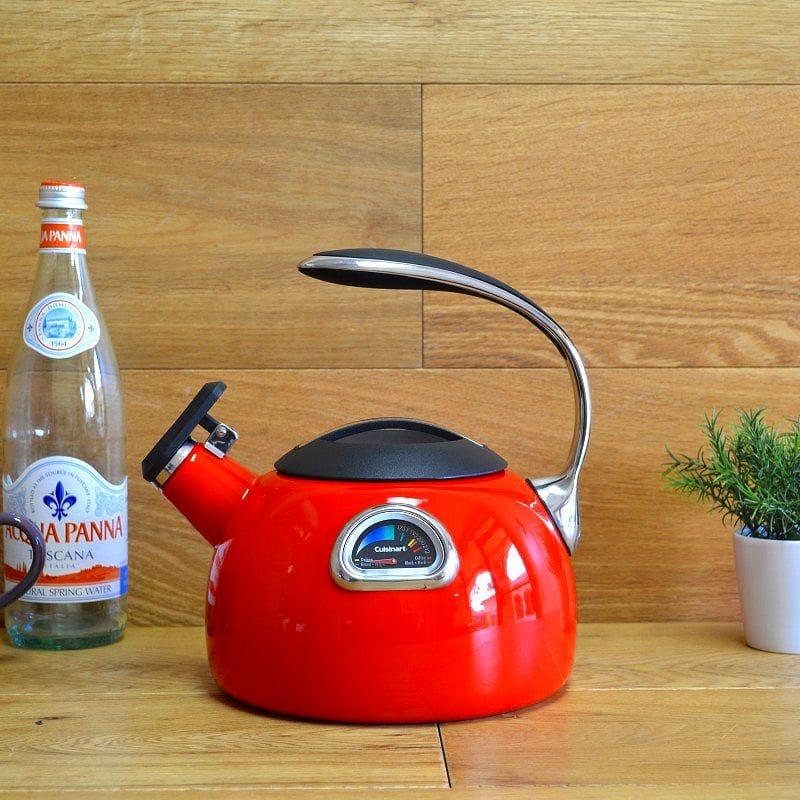 クイジナート ホーロー 温度計付笛吹きケトル レッド IH対応Cuisinart PerfecTemp Porcelain Enameled Teakettles PTK-330R Red