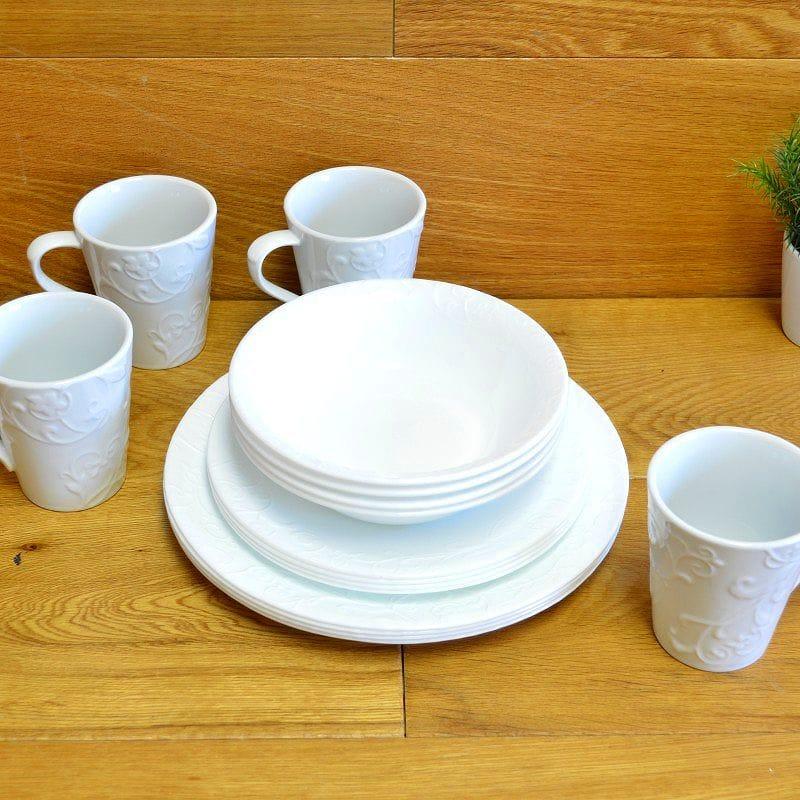 コレール エンボスベラファエンツァ ディナーウェア ホワイト 4人用 16点セットCorelle Embossed Bella Faenza 16-Piece Dinnerware Set, Service for 4, White