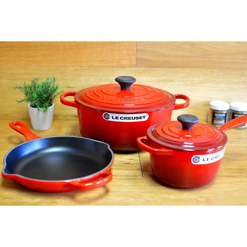 Le Creuset Cookware Pot Pan 3 Point Set Cherry Red 5 Piece Essential Cast Iron