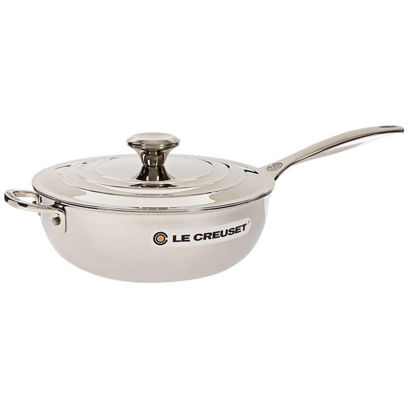 ルクルーゼ ステンレス ソース 片手鍋 3.3L Le Creuset Tri-Ply Stainless Steel Saucier Pan with Lid and Helper Handle, 3.5-Quart