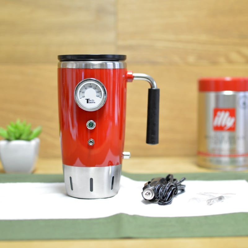 レトロ 電気保温マグ 車載可 Tech Tools Retro Heated Smart Travel Mug Stainless Steel