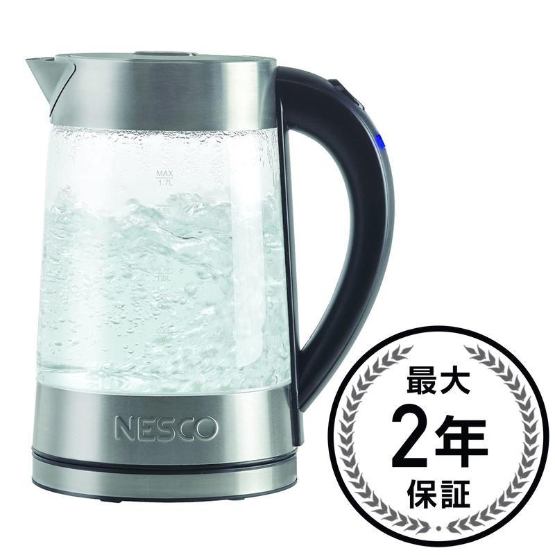 ネスコ ガラスウォーター 電気ケトル 1.7L Nesco GWK-02 Electric Glass Water Kettle, 1.8-Quart, Gray 家電