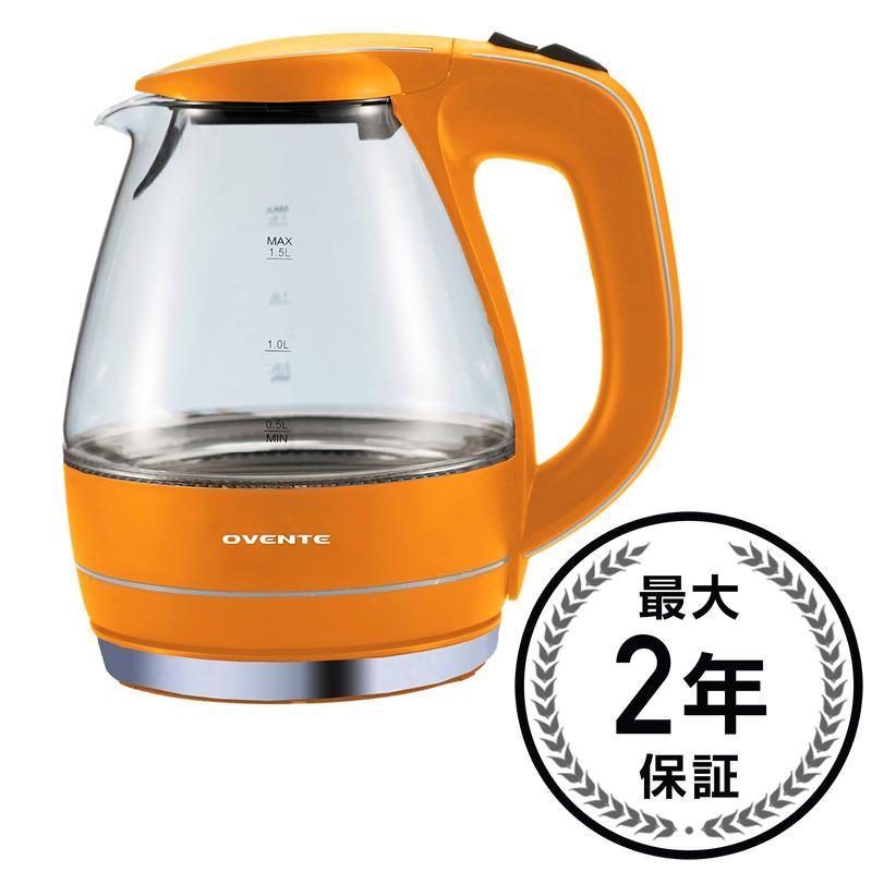 ガラス電気ケトル コードレス電気ケトル 1.5L オレンジ Ovente KG83O 1.5L Glass Electric Kettle, Orange 家電