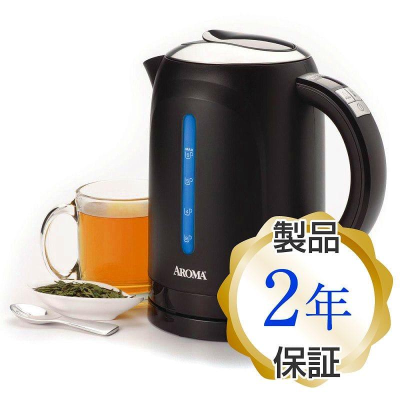 コードレス電気ケトル ブラックAroma 1.5 Liter Digital Electric Water Kettle, Black 家電