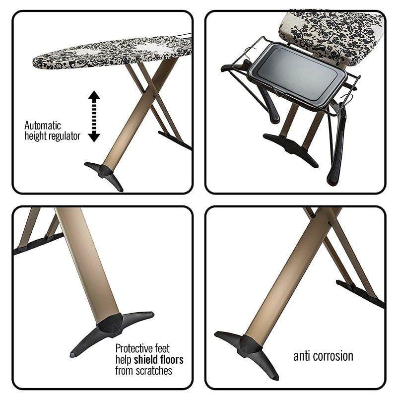 bartnelli 51x19 inch multi layered t leg extra wide ironing board