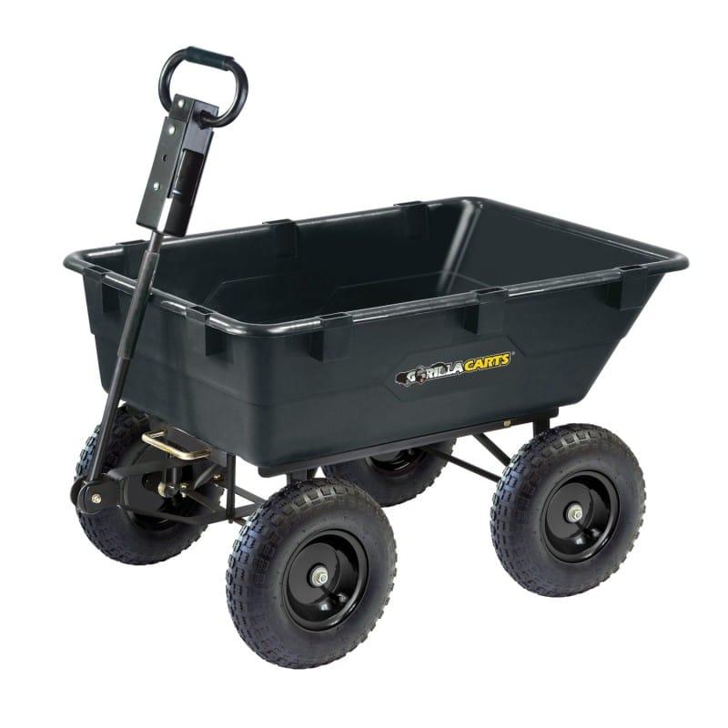 ガーデン ワゴン カート アウトドア Gorilla Carts GOR866D Heavy-Duty Garden Poly Dump Cart with 2-In-1 Convertible Handle