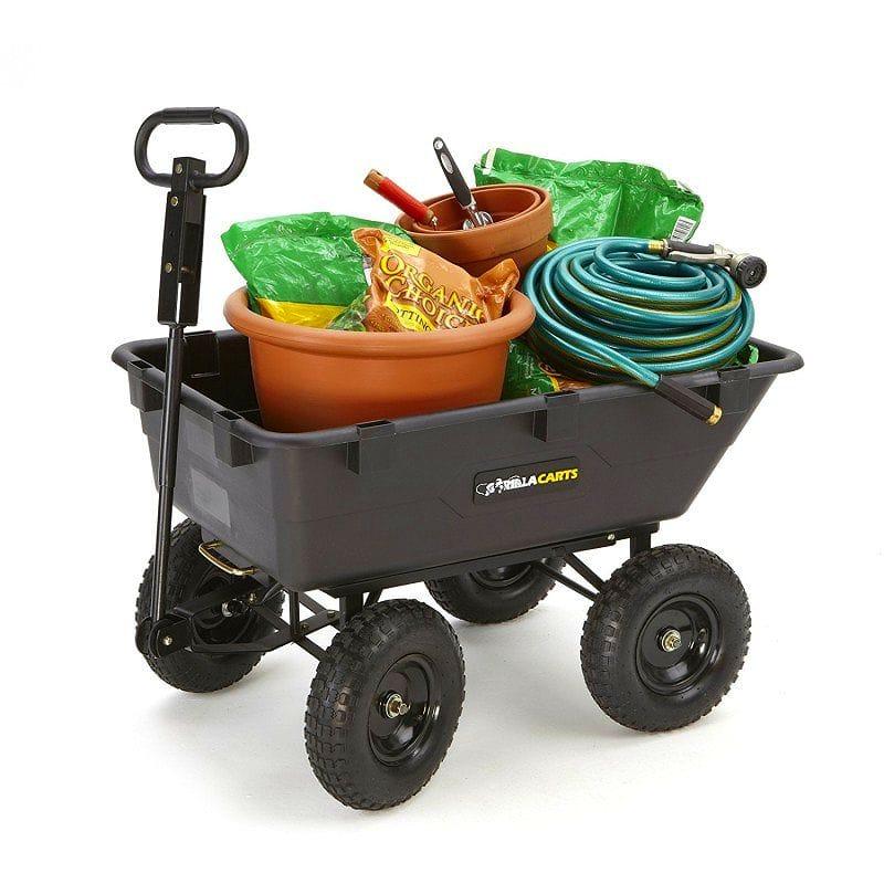 Garden Wagon Cart Outdoor Gorilla Carts GOR866D Heavy Duty Garden Poly Dump  Cart With 2 In 1 Convertible Handle