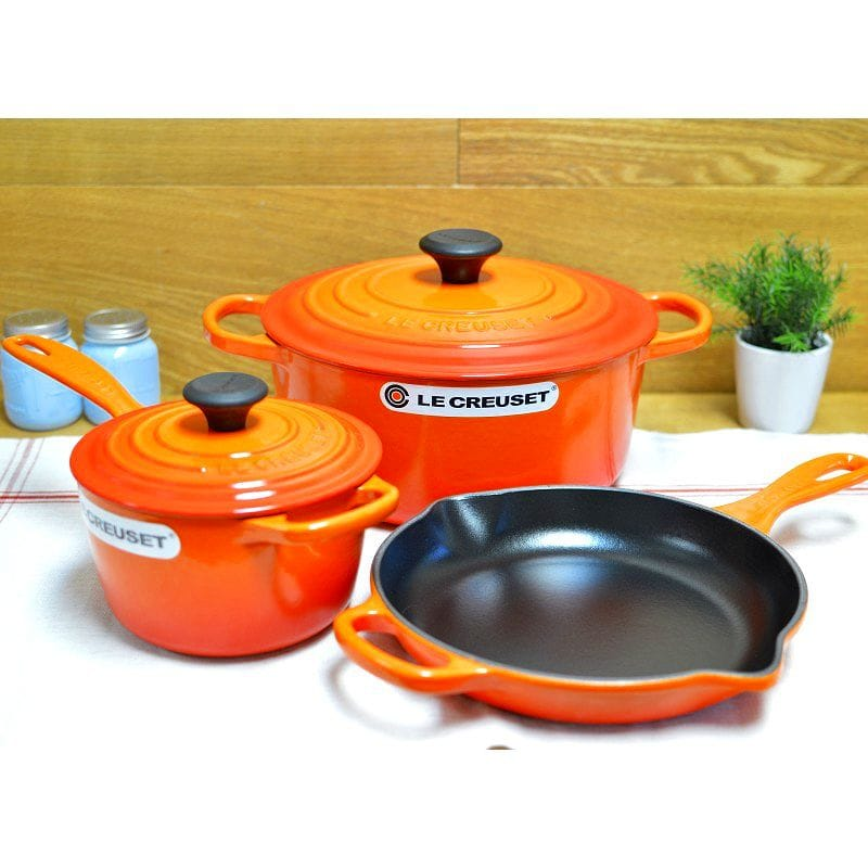 Le Creuset Cookware Pot Pan 3 Piece Set Orange 5 Essential Cast Iron