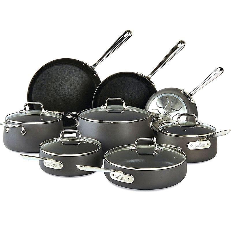オールクラッド ノンスティック フライパン 鍋 13点セット All-Clad E785SB64 HA1 Hard Anodized Nonstick Dishwasher Safe PFOA Free Cookware Set, 13-Piece, Black