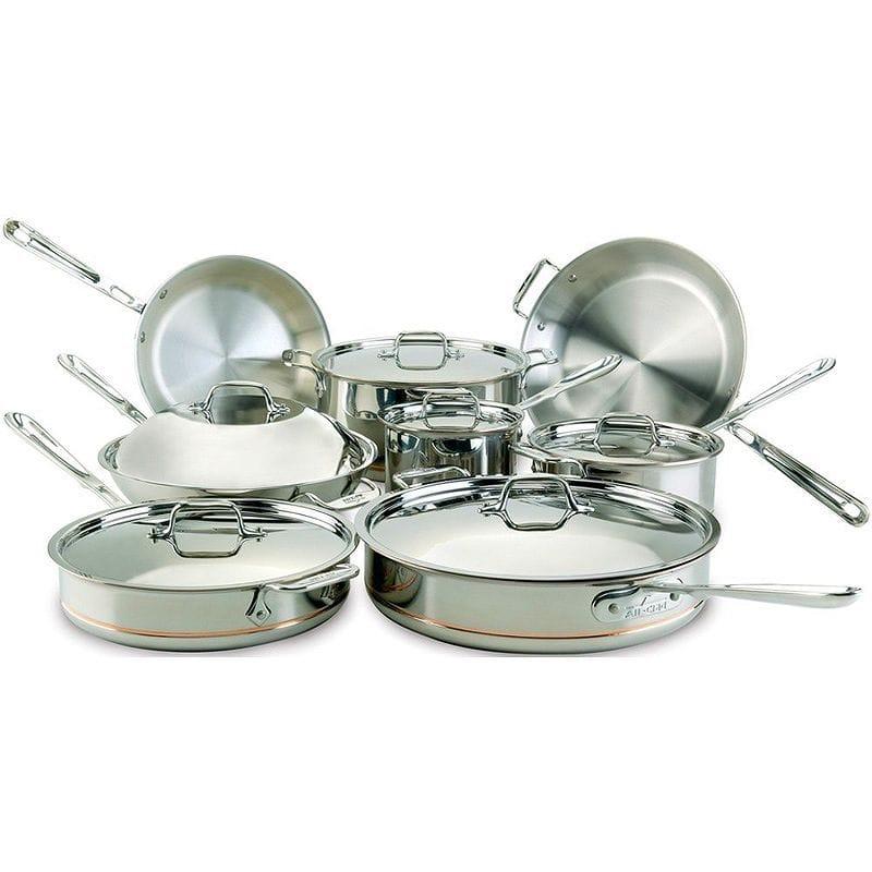 オールクラッド 銅 コッパーコア フライパン 鍋 14点セット All-Clad 60090 Copper Core 5-Ply Bonded Dishwasher Safe Cookware Set, 14-Piece, Silver