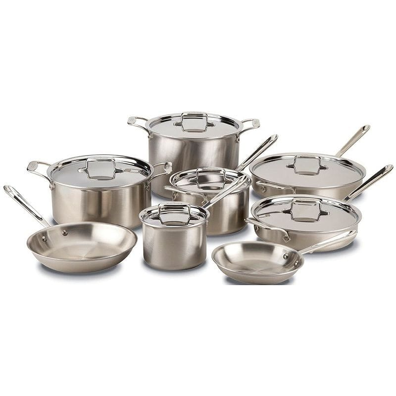 オールクラッド d5 ステンレス フライパン 鍋 14点セット All-Clad BD005714 D5 Brushed 18/10 Stainless Steel 5-Ply Bonded Dishwasher Safe Cookware Set, 14-Piece, Silver