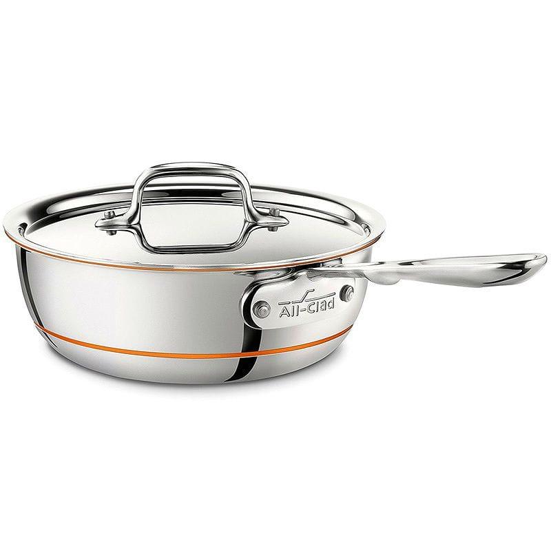 オールクラッド 銅 コッパーコア ソースパン 1.9L All-Clad 6212 SS Copper Core 5-Ply Bonded Dishwasher Safe Saucier Pan with Lid / Cookware, 2-Quart, Silver