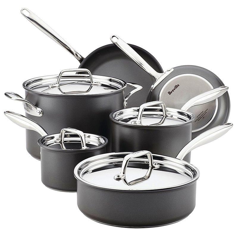 ブレビル フライパン 鍋 10点セット テフロン加工 フッ素樹脂 Breville 10 Piece Thermal Pro Hard-Anodized Nonstick Cookware Set, Large, Gray