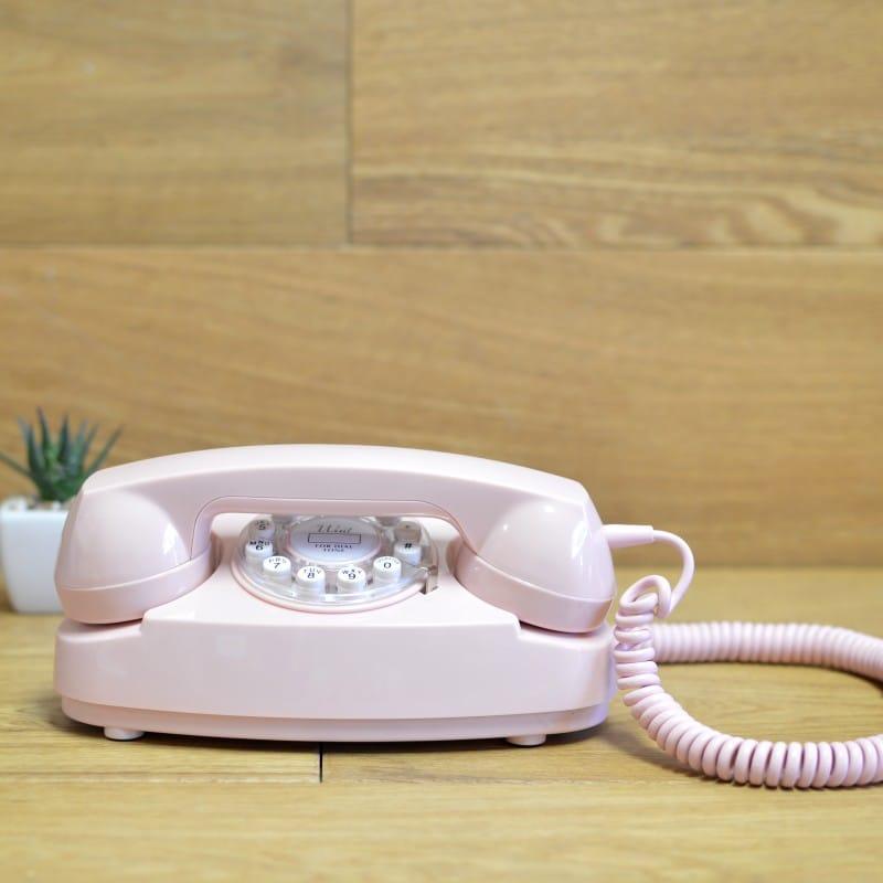 アメリカ クロスリー プリンセスフォン クラシック電話 プッシュボタン式 Crosley CR59-PI Princess Phone with Push Button Technology