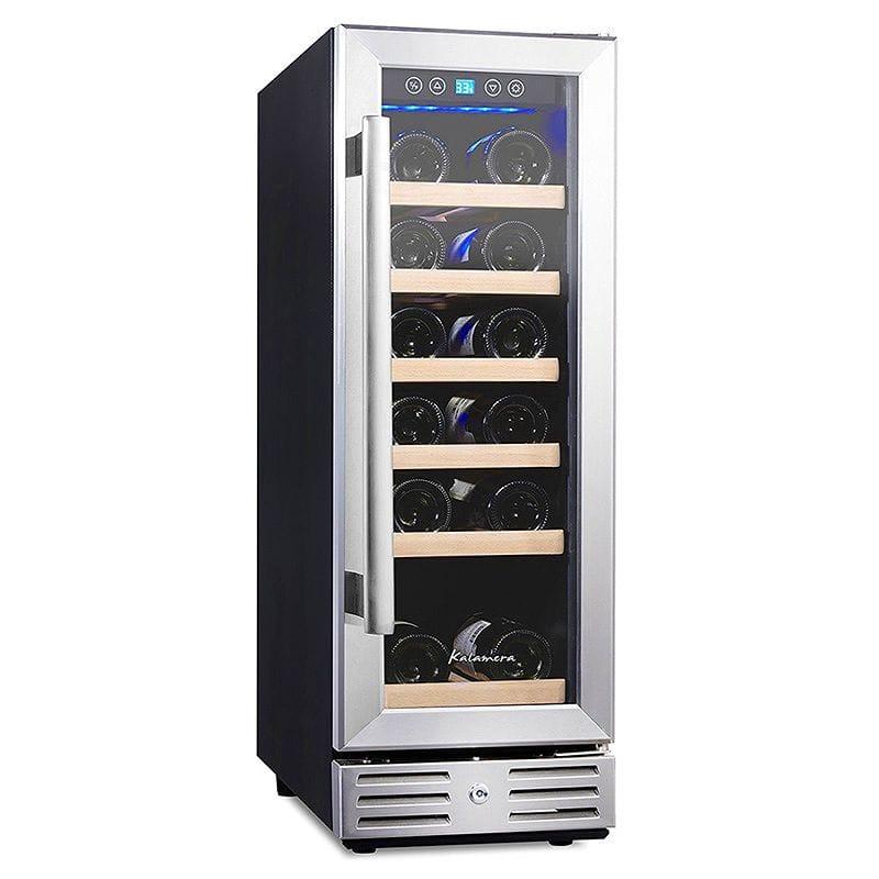 ワインセラー ビルトイン フリースタンド ガラスドア 最大18本 幅30cm Kalamera Wine refrigerator 18 Bottle Built-in and Freestanding with Stainless Steel & Double-Layer Tempered Glass Door and Temperature Memory Function 家電