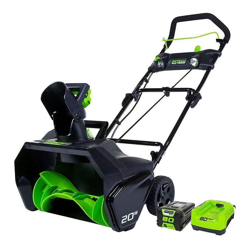本格 コードレス 除雪機 雪かき機 充電式 4.0Ahバッテリー付 GreenWorks Pro 80V 20-Inch Cordless Snow Thrower, 2Ah Battery & Charger Included 【代引不可】家電