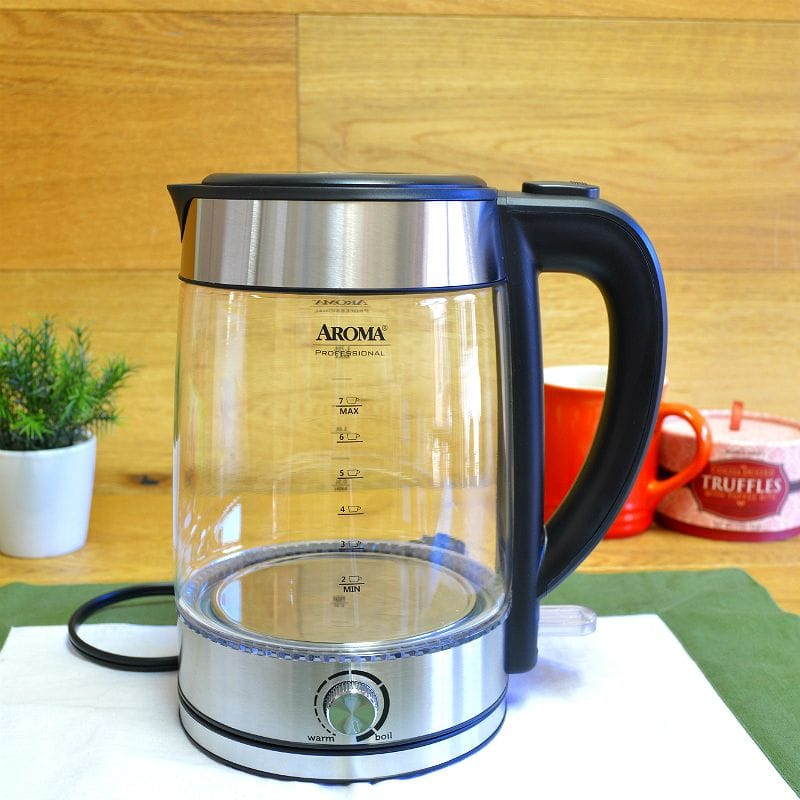 アロマ ガラス電気ケトル 温度調節可能 1.7L Aroma Professional Glass Tea Kettle, 7 Cup (with Temperature Dial)