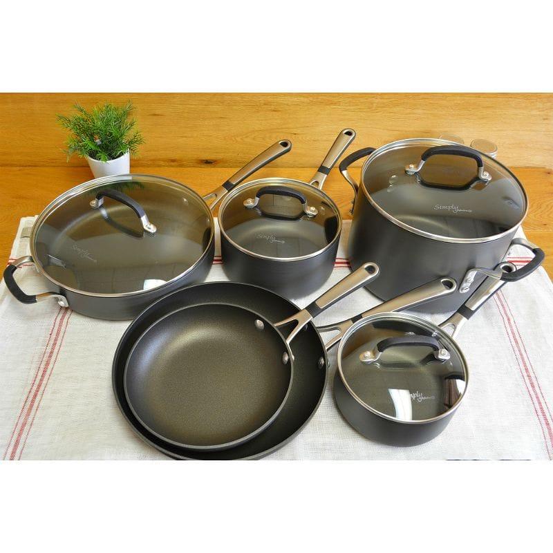 Cal Fallon frying pan pan ten points set PFOA-free Simply Calphalon  Nonstick Hard-Anodized 10-Piece Cookware Set SA10H