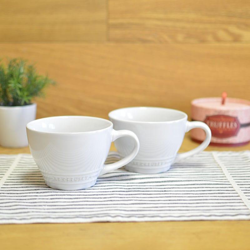 ルクルーゼ スープボウル ビストロマグ 414ml ホワイト 2個セット Le Creuset Stoneware Bistro Mug, 14 oz, White