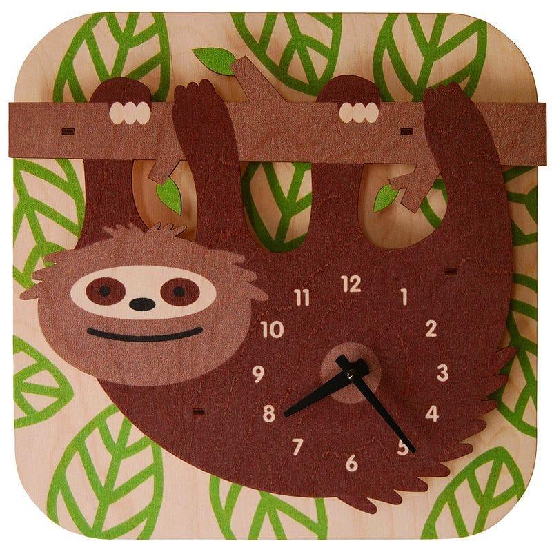 ウォールクロック 木製 振り子時計 壁掛け時計 なまけもの Modern Moose Sloth Wall Clock