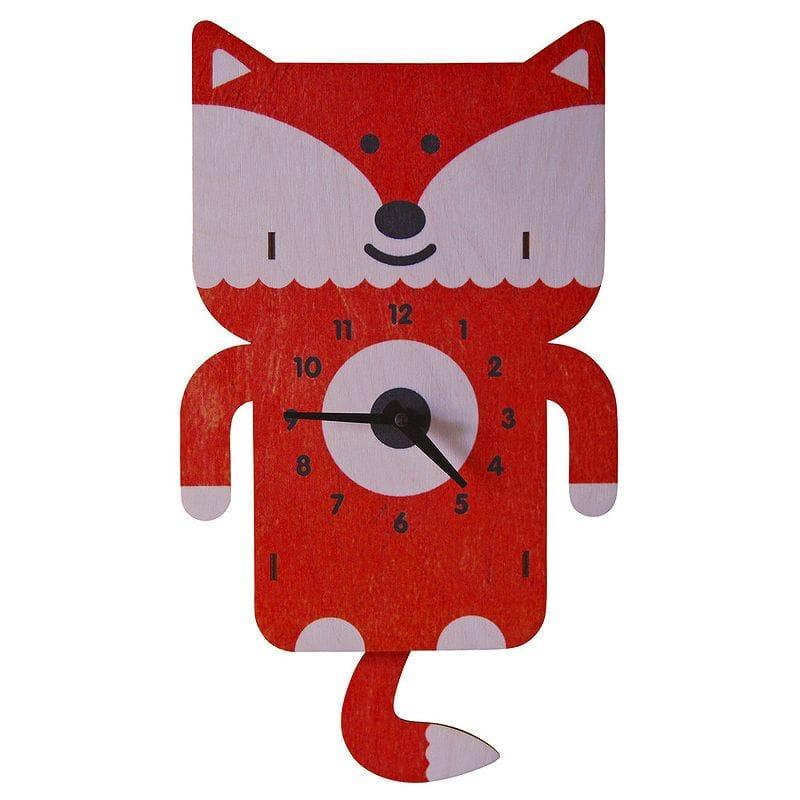 ウォールクロック 木製 振り子時計 壁掛け時計 キツネ Modern Moose Fox Pendulum Wall Clock